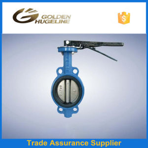 Blue Epoxy Coated Cast Iron Wafer Type Butterfly Valve pictures & photos