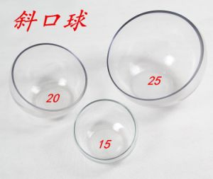 Beveled Glass Ball Vase, Clear Glass Vase