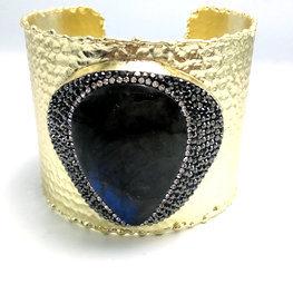 Fashion Bracelet with Nature Stone New in 24k-Gold-Plating Bracelet