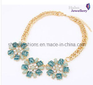 Big Color Stone & Chain with Gold Plated Fashion Necklace (XJW12028) pictures & photos