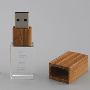Eco Wooden USB 3D Laser Engraving Crystal USB pictures & photos