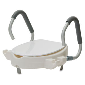 Raised Toilet Seat With Flip Back Arms and Lid