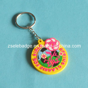 Rubber Soft PVC Keyring with Embossed Flower Keychain pictures & photos