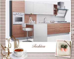Wood Grain Melamine Finish Laminate MFC Kitchen Furniture (zg-042) pictures & photos