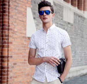 Men′s Korean Style Slim Fit Iron-Free Stripe Shirt pictures & photos