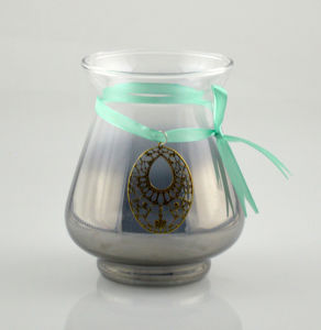 Glass Candle Holder with Green Ribbon pictures & photos
