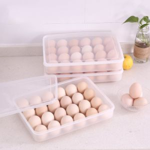 Large Size Clear Egg Holder with Lid for Refrigerator, Stackable Egg Container 24 Conpartment pictures & photos