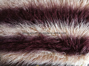 Wine Red Apricot Jacquard Mongolian Fur pictures & photos