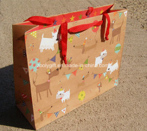 Recycled Brown Kraft Paper Shopping Bag with Customize Design Printing pictures & photos