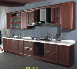 MDF with Thermofoil Foiling Kitchen Cabinets Kc067 pictures & photos