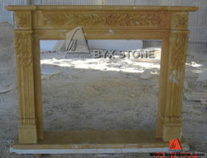 Chinese Yellow Marble Fireplace with Flower Carving pictures & photos