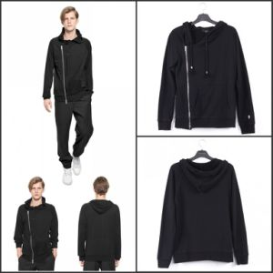Chest Zipper Casual Hoodies Hooded Black Cotton pictures & photos
