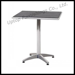Wholesale Outdoor Bistro Wood Top Dining Aluminum Table (SP-AT326) pictures & photos