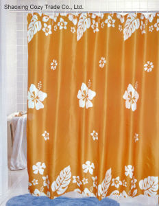 Big Flower Bathroom Fabric Polyester Shower Curtain pictures & photos