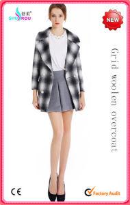 Fashion Brit Style Grid Woolen Winter Coat Overcoat Outerwear Clothing for Women Lady (SR-5003)