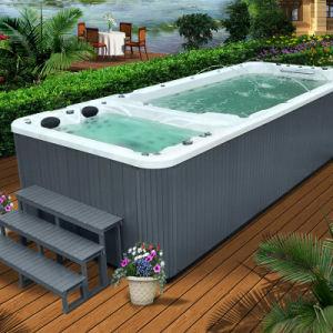 China freestanding fiberglass swim spa massage spa for Fiberglass garden tubs