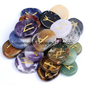 Semi Precious Stone Crystal Runes Slices Stone Carving pictures & photos