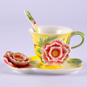 New 2015 Franz Porcelain Yellow Peony Cup Saucer and Spoon (AS-01323)