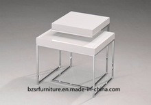 Small White Side Tables with Metal Leg (SC-5336)