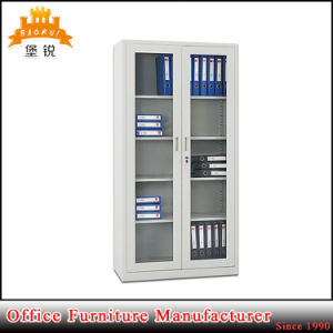 2 Iron Twin Swing Glass Doors Goods Display Bookcase Libary Steel Cupboard with 4 Shelves pictures & photos