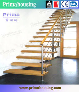 Oak Staircase Stainless Steel Handrail Staircase Design Pr-L41 pictures & photos
