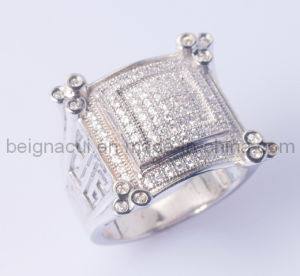 925 Sterling Silver CZ Big Ring for Men