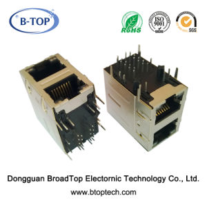 2X1 Dual Gigabit RJ45 Jack with Transformer Factory Sales