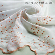 Beautiful Flower Voile Embroidery Curtain Fabric pictures & photos