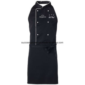 Twill Fabric Chef Apron with Contrast Colour Piping & Buttons pictures & photos