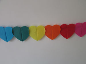 Colorful Heart Paper Garlands for Wedding