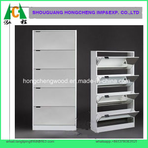 White Color 5big Drawers Mirrored Shoe Cabinet pictures & photos