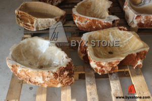 Irregular Shape Honey Onyx Washbasin Stone Sink pictures & photos