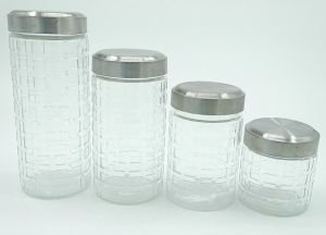 Retro Square Round Top Screw Glass Storage Jar Kitchen Containers pictures & photos