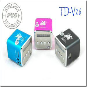 TD-V26 Portable Mini Digital Speaker Micro TF/SD Card+U Disk+FM Radio+Screen
