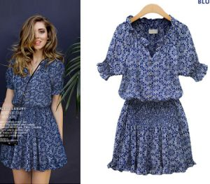 Fashion Cotton V-Neck Flower Print Sexy Casual Ladies Dress pictures & photos