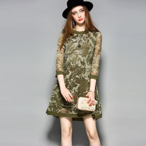 Silk Dress Long Sleeve Printed Clothes Slim Casual Women Dress pictures & photos