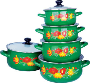 5PCS Enamel Casserole Set with Flower Printed pictures & photos