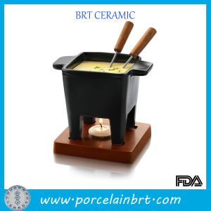 Four Feet Square Fondue Pot with Wooden Stand pictures & photos