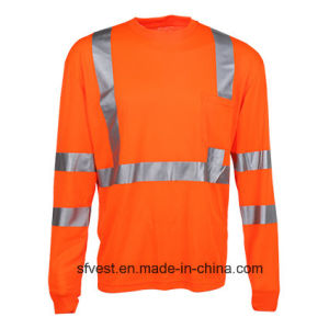 Safety T-Shirt Long Sleeve High Visibility Shirt Reflective Safety Clothing Hi Vis Workwear Dry Fit Fabric pictures & photos