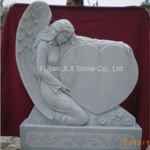 White Marble Angel Sculpture Heart Tombstone for Sale pictures & photos