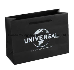 Customized Printed Luxury Grey Ribbon Handle Small Paper Gift Bag pictures & photos
