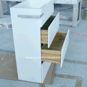 Corian Acrylic Solid Surface Modern Bathroom Standing Basin with Cabinets pictures & photos