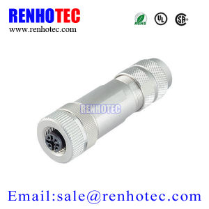 Metal Screw Wireable Connector 4pin M12 Female Plug pictures & photos