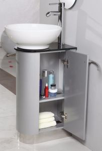 Silver Grey MDF Floor Mounted Bathroom Cabinet with Wash Basin pictures & photos