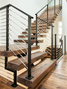 Timber Staircase Design Wood Box Tread pictures & photos