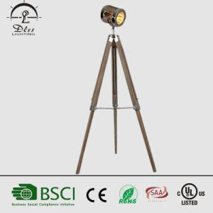 Vintage Wood&Steel Spotlight Shape Tripod Standing Floor Lamp for Interior Decoration pictures & photos