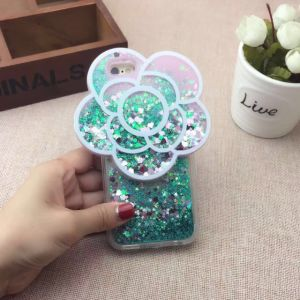 3D Flower Case Camellia Flower Floating Liquid Bling Quicksand Glitter Star Mobile Phone Case for iPhone 7/7 Plus pictures & photos
