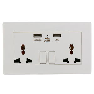 Wall Socket Dual 2 USB Plug Switch Power Supply pictures & photos