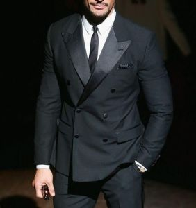 Men Double Breasted Wool Wedding Prom Suit