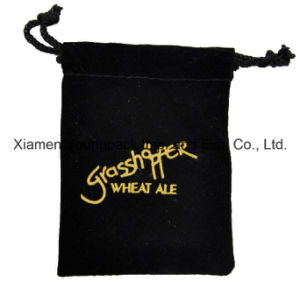 Custom Embroidery Black Velvet Promotional Advertising Gift Package Bag pictures & photos